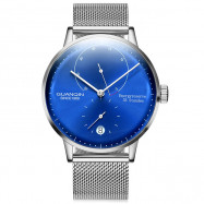 GUANQIN Business Steel Net Band Men Automatic Mechanical Watch SILVER BAND BLUE DIAL