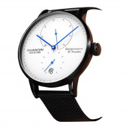 GUANQIN Business Steel Net Band Men Automatic Mechanical Watch BLACK BAND WHITE DIAL