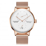 GUANQIN Business Steel Net Band Men Automatic Mechanical Watch ROSE GOLD AND WHITE