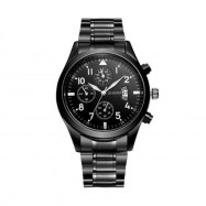 Oukeshi Men Fashion Stainless Steel Band Sports Watch with Calendar BLACK