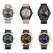 Curren 8295 Male Quartz Movement Watch Leather Strap Date Display Wristwatch MULTI-E