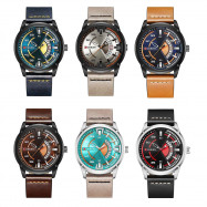 Curren 8298 Male Quartz Watch Calendar Stainless Steel Knit Band Wristwatch MULTI BROWN BAND BLUE DIAL