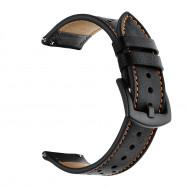 Genuine Leather Watch Strap 22mm for Xiaomi Huami Amazfit Stratos 2 /2S BLACK