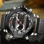 Naviforce 9097 Men's Dual Display Luminous Multifunctional Waterproof Sports Watch SILVER