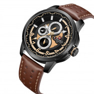 NAVIFORCE Business Men's Casual Quartz Watch DEEP COFFEE