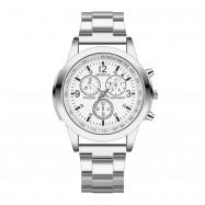 Luxury Stainless Steel Band Fashion Men Sport Watch Quartz Hour Wrist Analog SILVER