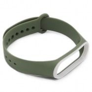 Double Color Replacement Wrist Strap Watchband Waterproof Band for Xiaomi Mi Band 3 ARMY GREEN
