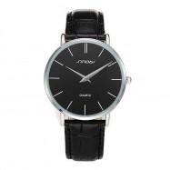 SINOBI 9140Men's Fashion Ultra-thin Quartz Waterproof Watch BLACK