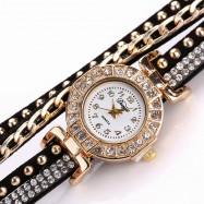 DUOYA D061 Women Girls Wrap Bracelet Wrist Watch with Rhinestones BLACK