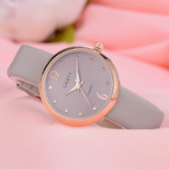 GAIETY Women's Casual Leather Band Dress Watch Rose Gold Tone G528 GREY