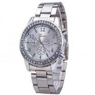 A Diamond-Inlaid Steel with A Quartz Watch SILVER REGULAR
