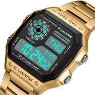 PANARS 8113 Outdoor Sports Waterproof LED Watch GOLD