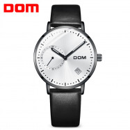 DOM M - 302BK - 7M Fashionable Leather Strap Men Waterproof Quartz Watch WHITE