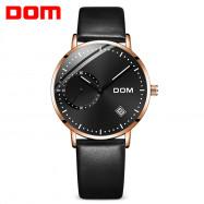 DOM M - 302BK - 7M Fashionable Leather Strap Men Waterproof Quartz Watch ROSE GOLD
