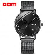 DOM M - 302BK - 7M Fashionable Stainless Steel Strap Men Quartz Watch BLACK