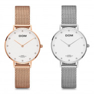 DOM G - 36G - 7M Fashion Diamond Dial Stainless Steel Mesh Strap Women Quartz Watch SILVER