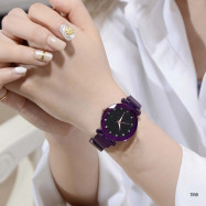 Starry Sky Quartz Magnet Strap Watch PURPLE DAFFODIL