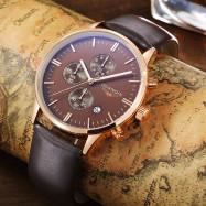 GUANQIN GQ12006 Fashion Male Quartz Watch Working Sub-dial Wristwatch COFFEE AND GOLDEN