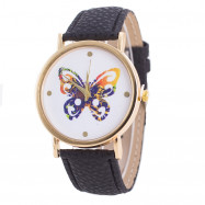 Fashion Butterfly Printed Quartz Belt Watch BLACK