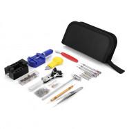 COOKJOY Watch Repair Kit Portable Storage Bag Spring Bar Tool Case Link Opener Hammer Tweezers Stainless Steel BLACK