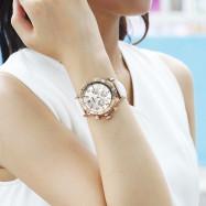 AIMASI 9005 Trendy Genuine Leather Band Women Quartz Watch WHITE