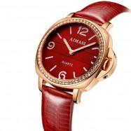 AIMASI Classic Elegant Diamond Leather Strap Quartz Watch for Women RED