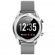 NO.1 DT28 Smart Watch 1.54 inch Nordic NRF52832 64KB RAM 512KB ROM Heart Rate Monitor Step Count Sedentary Reminder IP68 230mAh Built-in SILVER STEEL STRIP