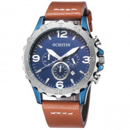 OCHSTIN 6077B Men High-grade Leather Belt Stainless Steel Waterproof Quarts Watch BLUE