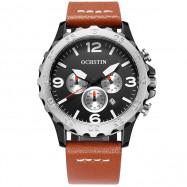 OCHSTIN 6077B Men High-grade Leather Belt Stainless Steel Waterproof Quarts Watch BROWN