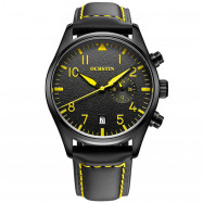OCHSTIN 6043C Male Quartz Watch Water Resistant Leather Strap YELLOW