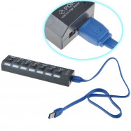 Portable 7 Ports USB 3.0 Hub with Independent Switch