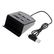 Cwxuan 3 in 1 Type C / Micro USB / USB 2.0 to USB 2.0 / MS / SD / M2 / TF Card Reader Hub
