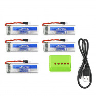 Original JJRC Battery Charging Set 5 x 3.7V 500mAh LiPo + WSX 1 to 5 Balance Charger / USB Cable for H37 Quadcopter