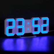 Blue LED Digital Numbers Wall Clock with 3 levels Brightness Alarm Snooze Clock