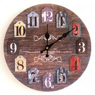 Classics Analog Number Round Wood Wall Clock