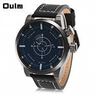Oulm 3558 LED Scanning Leather Band Men Double Movt Watch