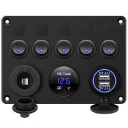 5 Gang Switch Panel 12V/24V withDigital Voltmeter Blue LED Equipped with Cigarette Lighter Socket and 4.2A Dual USB Port for RV Car Boat