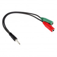 22cm 3.5mm Male to 2 Female Audio Headphone Adapter Braided Cable