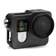 Aluminum Metal Frame Case for GoPro Hero 4 Silver Black With UV Filter Lens Cap