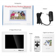 PAVLIT 8 inch Digital Photo Frame HD IPS Display with Remote Control Design