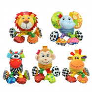 SOZZY Animal Shape Pull Shock Lathe Hanging Rattle Plush Toy