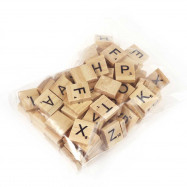 100pcs Wooden Scrabble Tiles Capital Letters Board Alphabet Toy