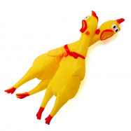 Chic Cute Screaming Chicken Pet Toys Squeaker Rubber Yellow Color