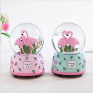 Green Leaf Flamingo Luminous Snowflake Crystal Ball Music Box