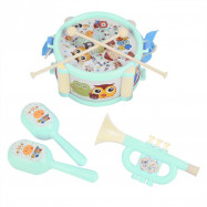 Kids Musical Instrument Toys 5pcs Double Sided Waist Drum Knocking Blow Toy