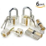 6Stk Professionel Lockpicking Transparentem Trainingsschlössern Schlosserei YK