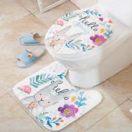 2 PCS Floor Mat Toilet Seat Decoration Pad