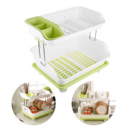 Double Layer Kitchen Dishes and Vegetable Draining Rack