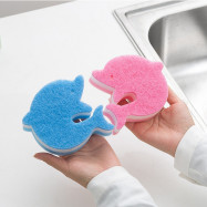 Creative 2PCS Dolphin Decontamination Sponge Cleaning Kitchen Dishcloth