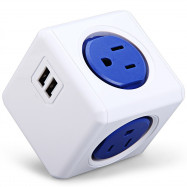 1 Piece Allocacoc Dual USB Port PowerCube Power Socket US Plug 5 Outlets Adapter
